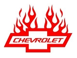 Chevrolet with Flames v4 Decal Sticker
