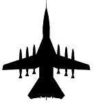 Fighter Jet Silhouette v3 Decal Sticker