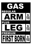Gas Price Cost Arm & Leg Decal Sticker