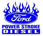 Power Stroke with Flames v1 Decal Sticker