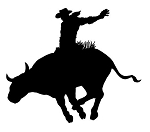 Bull Rider Silhouette v6 Decal Sticker