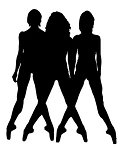 3 Dancers Silhouette Decal Sticker