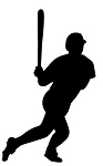 Baseball Hitter Silhouette v2 Decal Sticker