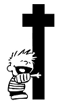 Calvin Hug Cross Decal Sticker