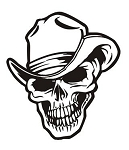 Cowboy Western Skull v5 Decal Sticker