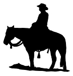 Cowboy on Horseback Silhouette Decal Sticker