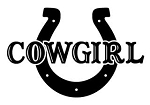Cowgirl with Horseshoe Decal Sticker