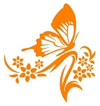 Floral Design with Butterfly v3 Decal Sticker