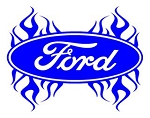 Ford Oval with Flames v4 Decal Sticker