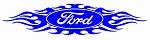 Ford with Flames v6 Decal Sticker