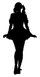 Girl in Skirt Silhouette Decal Sticker