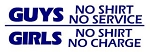 Girls No Shirt No Charge Decal Sticker