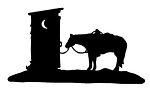 Horse Tied To Outhouse Decal Sticker