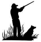 Hunter and Dog Silhouette Decal Sticker