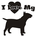 I Love My Bull Terrier Decal Sticker