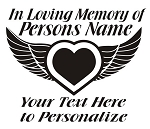 Memorial Heart with Wings v2 Decal Sticker
