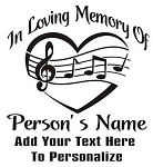 Memorial with Heart and Music Decal Sticker