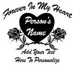 Memorial with Heart and Roses Decal Sticker