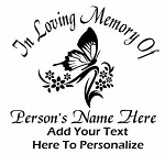 Memorial with Butterfly Decal Sticker
