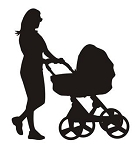 Mother and Baby Stroller Silhouette v2 Decal Sticker