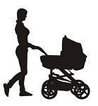 Mother and Baby Stroller Silhouette v3 Decal Sticker