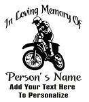 Motocross Rider Memorial Decal Sticker