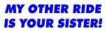 My Other Ride Is Your Sister Decal Sticker
