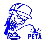 Pee On PETA Decal Sticker