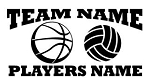 Personalized Basketball-Volleyball v2 Decal Sticker