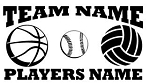 Personalized Basketball-Softball-Volleyball v2 Decal Sticker