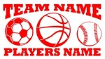 Personalized Soccer-Basketball-Baseball v2 Decal Sticker