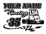 Personalized Quarter Midget Racing v2 Decal Sticker