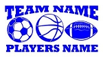 Personalized Soccer-Basketball-Football v2 Decal Sticker