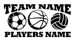 Personalized Soccer-Basketball-Volleyball v2 Decal Sticker