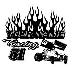 Personalized Sprint Car Racing v2 Decal Sticker