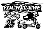 Personalized Sprint Car Racing v4 Decal Sticker