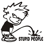 Piss On Stupid People v2 Decal Sticker