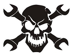 Skull and Crossed Wrenches v2 Decal Sticker