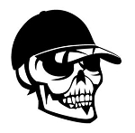 Skull with Ball Cap Decal Sticker