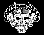 Skull with Blower Head Decal Sticker