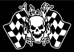 Skull with Checkered Flags Decal Sticker