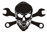 Skull with Crossed Wrenches v1 Decal Sticker