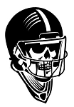 Skull with Football Helmet Decal Sticker