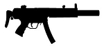 Submachine Gun Silhouette v2 Decal Sticker