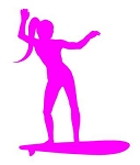 Surfer Girl Silhouette v1 Decal Sticker
