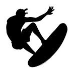 Surfer Silhouette v1 Decal Sticker