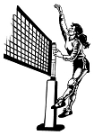 Volleyball Player at Net Decal Sticker