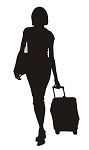 Woman with Luggage Silhouette v1 Decal Sticker