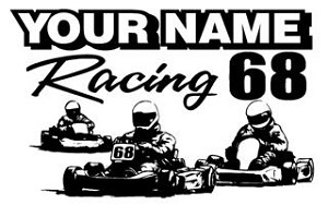 Personalized Shifter Go Kart Racing v8 Decal Sticker